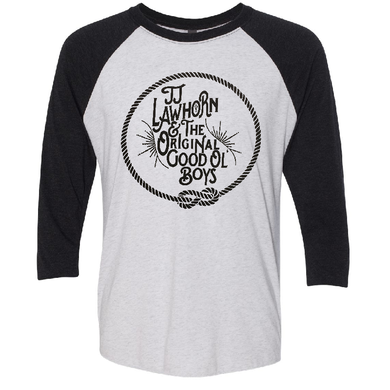 JJ Lawhorn Heather White and Black Raglan Tee